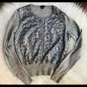 Ann Taylor Gray Sequin Button Up Front Cardigan